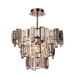 CWI Lighting Quida 18 inch 5 Light Flush Mount with Champagne Finish