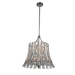Nile 21 inch 8 Light Chandelier with Antique Forged Silver Finish