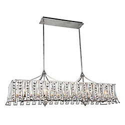 Nile 48 inch 10 Light Chandelier with Antique Forged Silver Finish