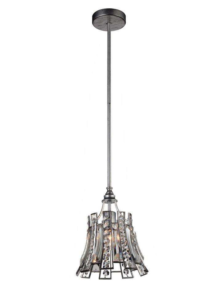 CWI Lighting Nile 9 inch 1 Light Mini Pendant with Antique Forged Silver Finish