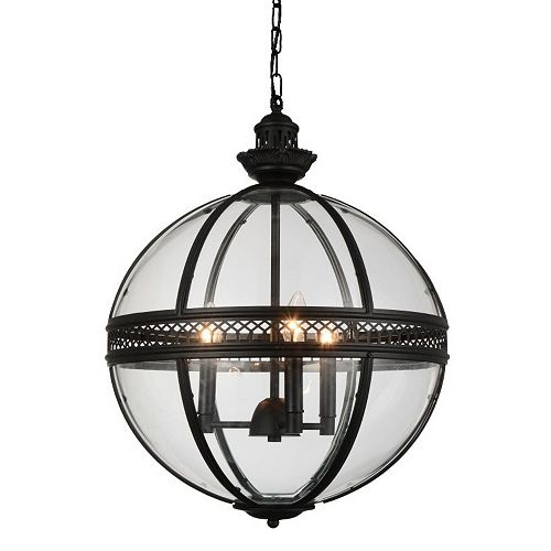 Lune 17 inch 3 Light Chandelier with Black Finish