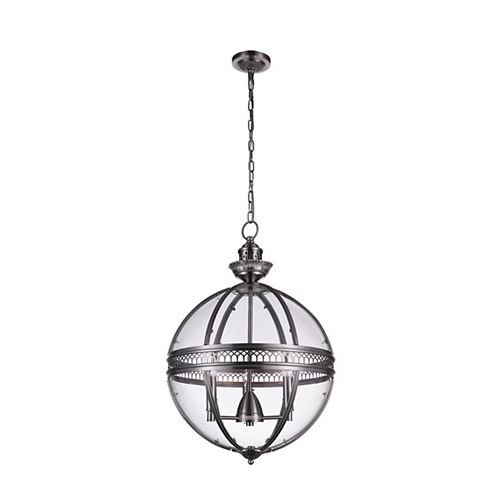 Lune 17 inch 3 Light Pendant with Satin Nickel Finish