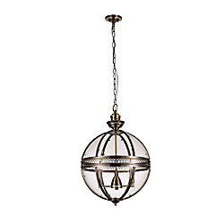 CWI Lighting Lune 17 inch 3 Light Pendant with Bronze Finish