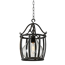 Imperial 12 inch 1 Light Mini Pendant with Antique Black Finish