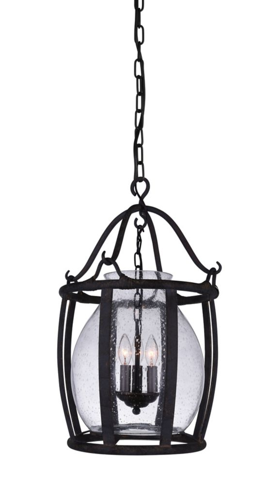CWI Lighting Imperial 16 inch 3 Light Pendant with Antique Black Finish