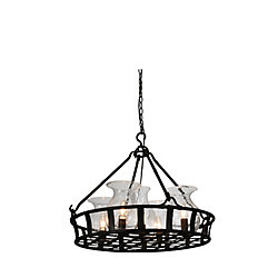 Imperial 26 inch 5 Light Chandelier with Antique Black Finish