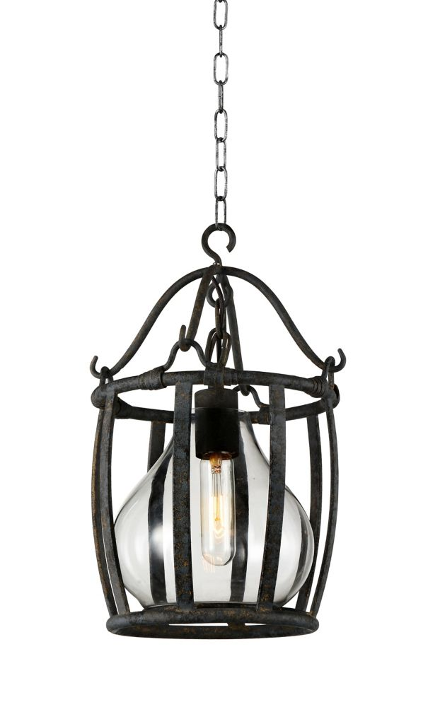 CWI Lighting Imperial 9 inch 1 Light Mini Pendant with Antique Black Finish