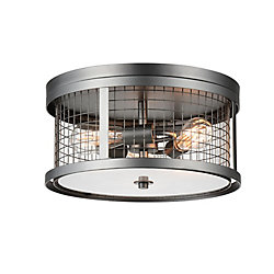 Manito 16 inch 3 Light Flush Mount with Pewter Finish