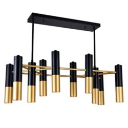 CWI Lighting Anem 32-inch 10-Light Chandelier with Matte Black and Satin Gold Finish