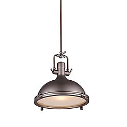 Show 16 inch 1 Light Chandelier with Gray Finish