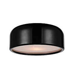 CWI Lighting Campton 14 inch 2 Light Flush Mount with Black Finish