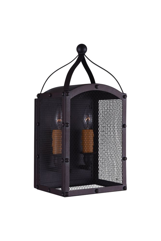 CWI Lighting Altair 8 inch 2 Light Wall Sconce with Reddish Black Finish