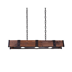 Pago 42 inch 3 Light Chandelier with Black Finish