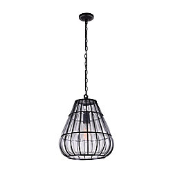 Escot 12 inch Single Light Chandelier with Black Finish