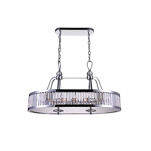 Belvoir 34 inch 10 Light Chandelier with Chrome Finish