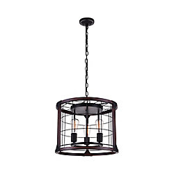 Fetto 19 inch 3 Light Chandelier with Black Finish