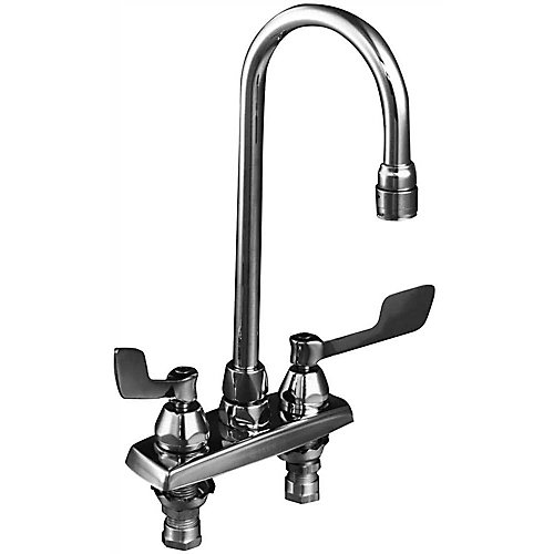 Lead-Free Deck-Mounted Kitchen Faucet With Gooseneck Spout And Wristblade Handles, 4-Inch Center