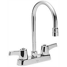 Lead-Free Deck-Mounted Kitchen Faucet With Gooseneck Spout And Lever Handles, 4-Inch Center, Polished Chrome