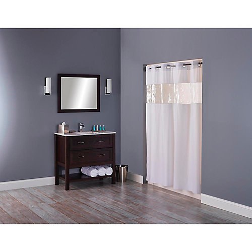 Hookless shower curtain with clear window, white