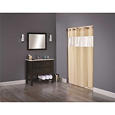 Shower Curtain With Clear Window Beige