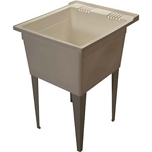 18-Gallon Floor-Mounted Multipurpose Sink With Legs, 26x22-3/8x34 inch, White