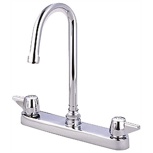 Top-Mounted Kitchen Faucet With 8-Inch Gooseneck Spout And Canopy Handles