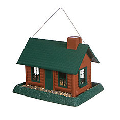 Large Log Cabin Birdfeeder - Brown (Plastic)