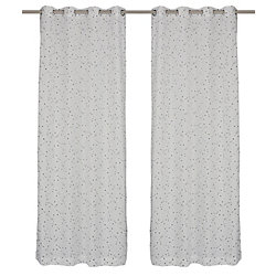 LJ Home Fashions Black-Eyed Susie Sheer Floral Embroideries Grommet Top Curtain Panel Set, 52x95-inch