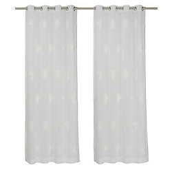 LJ Home Fashions Daisy-Lu Sheer Embroidered Florals Grommet Curtain Panels , 54x95-inch, White (Set of 2)
