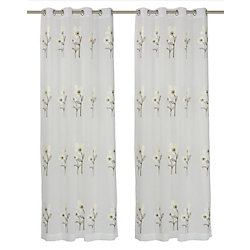 LJ Home Fashions Daffodil 'Filled' Botanical/Floral Sheer Grommet Curtain Panels 54x95-inch, White/Green (Set of 2)