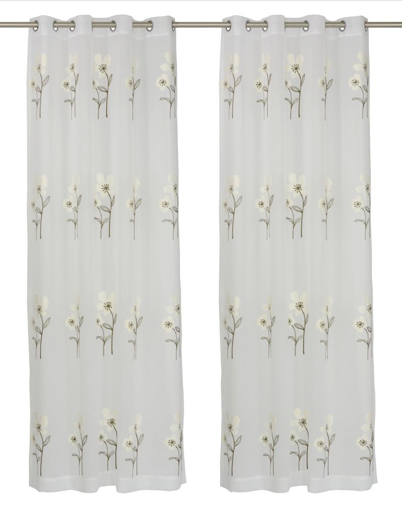 LJ Home Fashions Daffodil 'Filled' Botanical/Floral Sheer Grommet Curtain Panels (Set of 2) 54x95-inch, White/Green