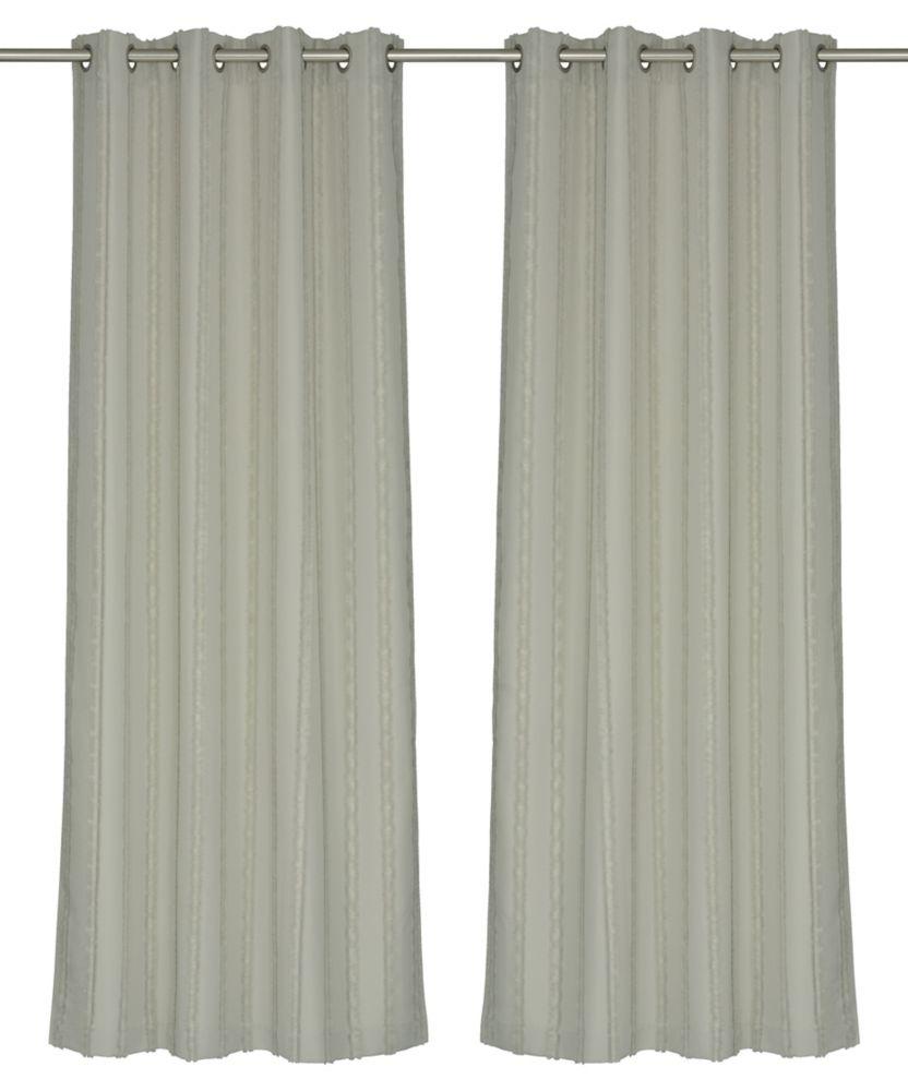LJ Home Fashions REV Shag Stripe Privacy Grommet Curtain Panel Set, 52 inch W x 95 inch L, Greige (beige/grey)