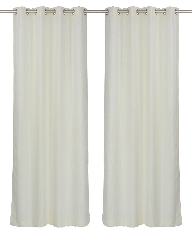 LJ Home Fashions REV Shag Stripe Privacy Grommet Curtain Panel Set, 52 inch W x 95 inch L, Cream Ivory