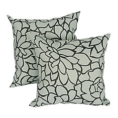 Caddo Modern Outlined Floral Print Square Cushion, 17-inch, Grey/Black