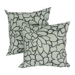 LJ Home Fashions Caddo Coussin à Imprimé Floral Modern, 17x17 po, gris/noir