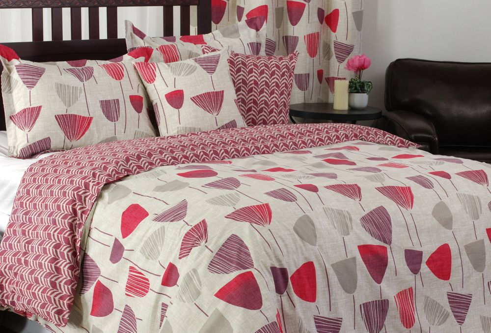 LJ Home Fashions Zazzi Wine Glass/Chevron Print Duvet Cover Set, Full