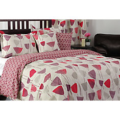 Zazzi Wine Glass/Chevron Print Duvet Cover Set, King