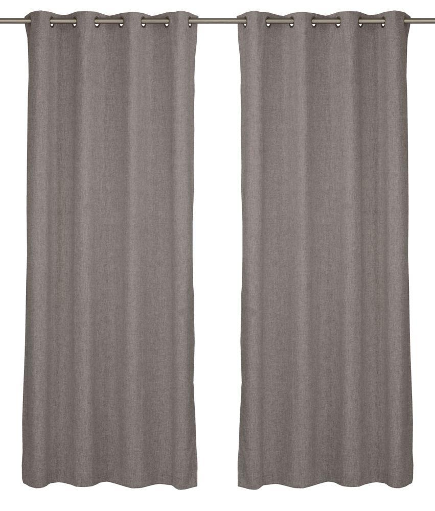 Relax Wool Like Grommet Curtain Panel Set, 54 inch W x 95 Inch L, Warm Grey