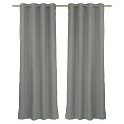 LJ Home Fashions Relax Wool Like Grommet Curtain Panel Set, 54 inch W x 95 Inch L, Grey Wolf
