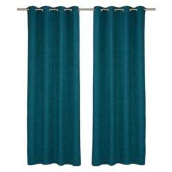 LJ Home Fashions Relax Wool Like Grommet Curtain Panel Set, 54 inch W x 95 Inch L, Blue