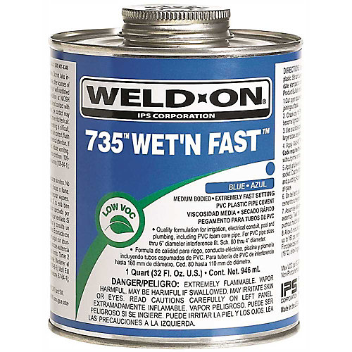 Weld On 735 Wet N Fast Cement 1/2 Pint Blue