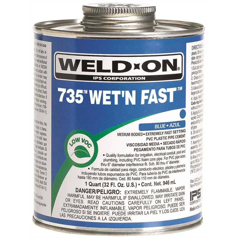 IPS Corporation Weld On 735 Wet N Fast Cement 1/2 Pint Blue
