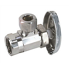 Angle Stop, 1/2 inch Fip X 3/8 inch Comp, Chrome Plated, Lead Free