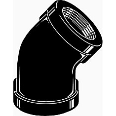 Black Malleable 45 Degree Elbow, 1/2 inch
