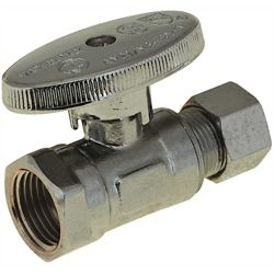 DuraPro 1/4 Turn Straight Stop, 3/8 inch Ips X 3/8 inch Compression, Lead Free