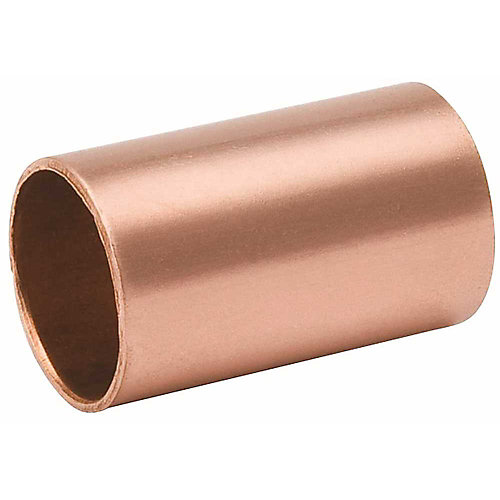 Copper Coupling Less Stop, 1/2 inch
