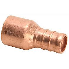 Zurn Pex Copper Sweat Female Adapter, 1/2 In. Female Sweat X 1/2 In. Barb, Lead Free