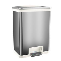 Halo TapCan 13 Gallon Pedal Sensor Trash Can with Deodorizer (White Trim)