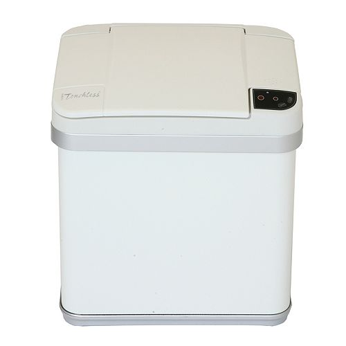 Halo Multifunction Trash Can, Matte Finish Pearl White, 2.5 Gallon, 8.25-inch Opening