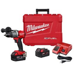 Milwaukee Tool M18 FUEL 18-Volt Lithium-Ion Brushless Cordless 1/2 inch Drill/Driver Kit W/(2) 5.0Ah Batteries